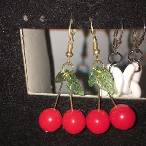 Jewelry - gold cherry earrings with little leaves